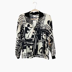 NWT Vintage Loehmanns Black and White Bomber Jacket 80s Made in Italy Size 42